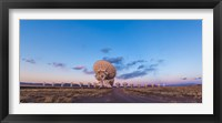Framed Very Large Array radio telescope in New Mexico at sunset