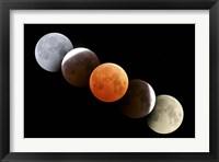 Framed Digital composite of total lunar eclipse