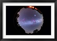 Framed fish-eye 360 degree image of the entire southern sky