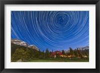 Framed Circumpolar star trails over Banff National Park, Alberta, Canada