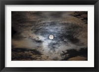 Framed Full moon in clouds