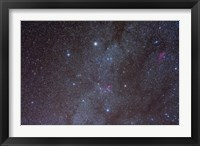 Framed Auriga constellation showing lanes of dark nebulosity