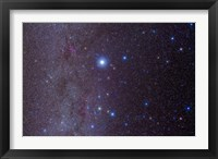 Framed constellation of Canis Major and nearby open clusters and nebulae