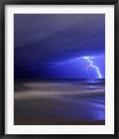 Framed bolt of lightning from an approaching storm in Miramar, Argentina