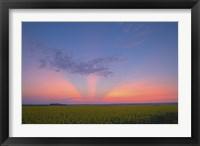 Framed Crepuscular rays at sunset, Alberta, Canada