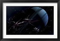 Framed chartered private corvette being intercepted by a strange alien craft