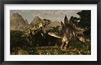 Framed large carnivorous Torvosaurus preying on a Stegosaurus