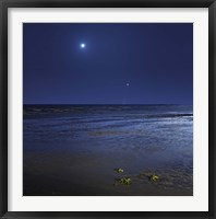 Framed Venus shines brightly below the crescent Moon from coast of Buenos Aires, Argentina