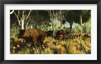 Framed Diprotodon on the edge of a Eucalyptus forest with some early kangaroos