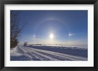 Framed Solar halo and sundogs in southern Alberta, Canada