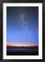 Framed Eta Carina nebula and the Milky Way visible at dawn