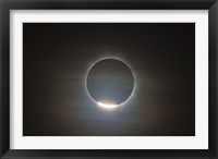 Framed first diamond ring during the total eclipse of the Sun