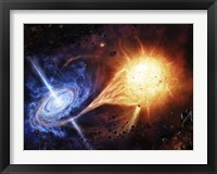 Framed binary system orbiting near a black hole