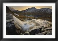 Framed small creek running through Skittendalen Valley in Troms County, Norway