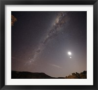 Framed Milky Way, the Moon and Venus over the fields in Azul, Argentina
