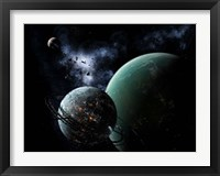 Framed massive space station orbits a large habitable moon
