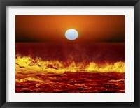 Framed Sun and ocean waves in Miramar, Argentina