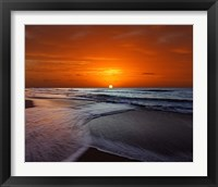Framed Two crossing waves at sunrise in Miramar, Argentina