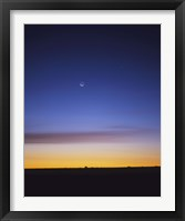 Framed Pre-dawn sky with waning crescent moon, Jupiter at top, and Mercury at lower center