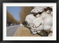 Framed Carved statues of lion creature, Changling Sacred Way, Beijing, China