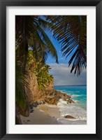 Framed Anse Beach on Fregate Island, Seychelles, Africa