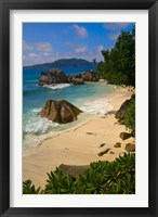 Framed Coastal View of La Digue Island, Seychelles