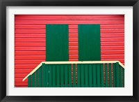 Framed Red and Green wooden cottages, Muizenberg Resort, Cape Town, South Africa