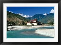 Framed Bhutan, Punaka, Mo Chhu, Punaka Dzong, Monastery