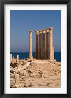 Framed Ancient Architecture with sea in the background, Sabratha Roman site, Libya