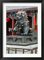 Framed China, Beijing. Bronze lion sculpture, Fragrant Hill