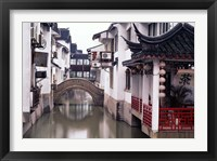 Framed Canal Seperates White Ming Buildings, Suzhoul, Jiangsu, China
