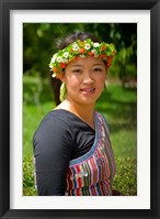 Framed China, Yunnan, Young Dulong Portrait with Ethnic Costume