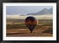 Framed Aerial view of Hot air balloon landing, Namib Desert, Namibia