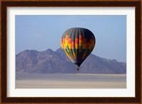 Framed Aerial view of Hot air balloon over Namib Desert, Sesriem, Namibia