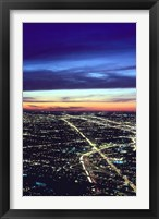 Framed Aerial Night View of Chicago, Illinois, USA