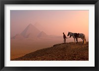Framed Dawn View of Guide and Horses at the Giza Pyramids, Cairo, Egypt