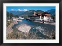 Framed Historic Buddhist Monastery, Bhutan
