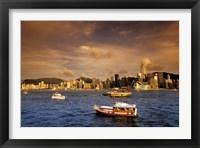 Framed Boats in Victoria Harbor at Sunset, Hong Kong, China