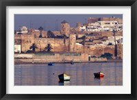 Framed Fishing Boats with 17th century Kasbah des Oudaias, Morocco