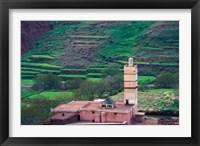 Framed Geometric Tilework on Mosque Minaret, Morocco