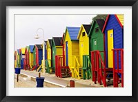 Framed Colorful Changing Houses, False Bay Beach, St James, South Africa