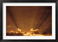 Framed Africa, Botswana. Dramatic sunbeams in the sky