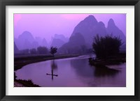 Framed Aerial Scenic of the Fishermen and Limestone Mountains, Gulin, China