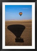 Framed Hot air balloon casting a shadow over Namib Desert, Sesriem, Namibia
