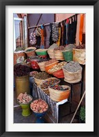 Framed Africa, Morocco, Marrakech. Spices of the mellah of Marrakech.