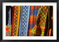 Framed Cloth stall, African curio market, Cape Town, South Africa.