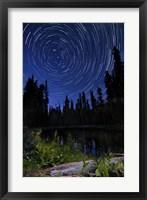 Framed Star trails above Summit Lake in Lassen Volcanic National Park, California