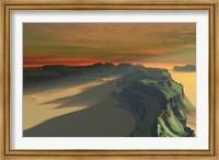 Framed sun sets on this desert landscape