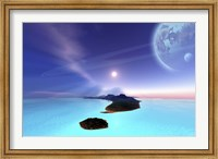 Framed Beautiful cosmic seascape on an alien world
