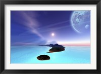 Framed Beautiful cosmic seascape on an alien world